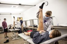 Physical Therapy students working with athletes