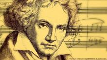 A sketch of Beethoven with music notes behind him.