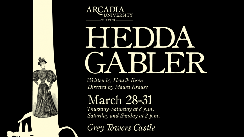 Flyer with a smoking pistol and Hedda Gabler performances
