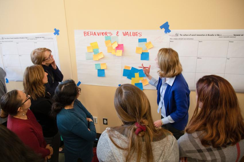 Marissa Deitch leads a group in the social innovation exercise.