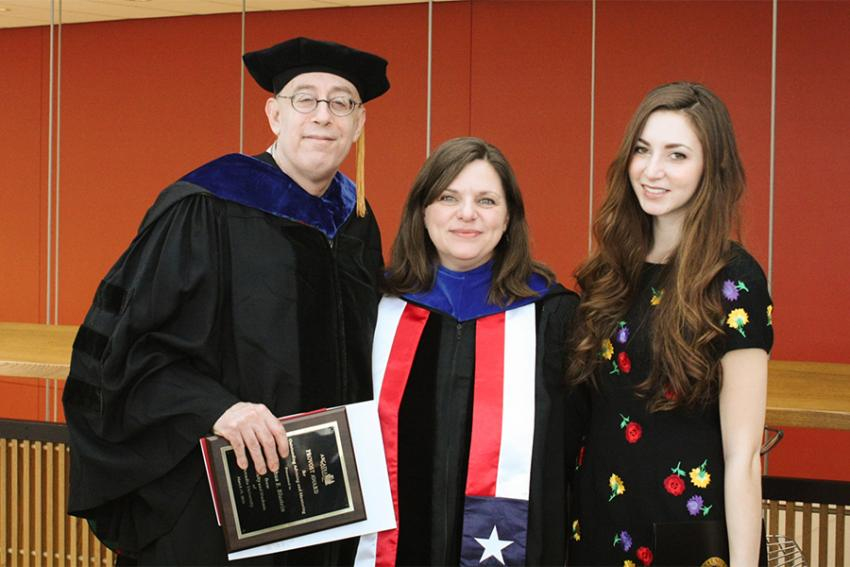 L to R: Dr. Joshua Blustein; Dr. Sheryl Smith, associate professor of Biology; Amanda Campbell '16.
