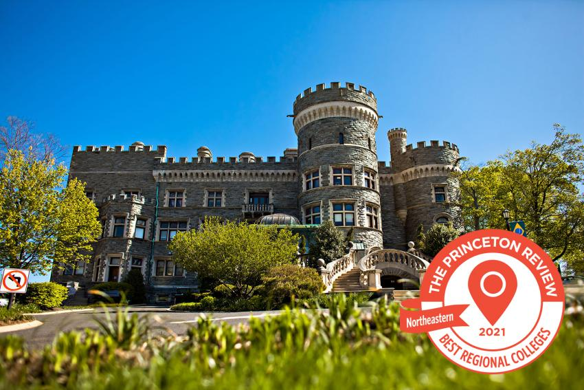 Arcadia University's Grey Towers Castle with 2021 Best Northeast badge.