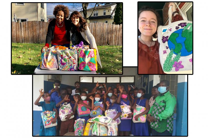 Collage of three photos of donating and receiving the tote bags