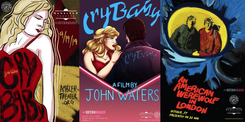 Student movie posters for Cry Baby and American Werewolf in London