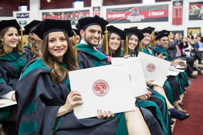 Arcadia's DPT Class of 2020 receive their doctorates at Commencement.