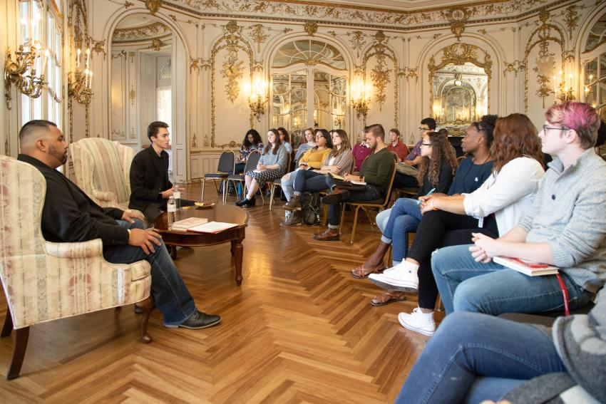 David Hogg speaks to first-year students during an afternoon discussion session.