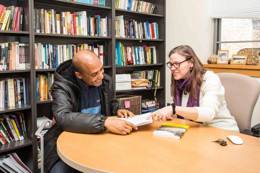 Arcadia University professor Jennifer Riggan with Dr. Alebachew Kemisso
