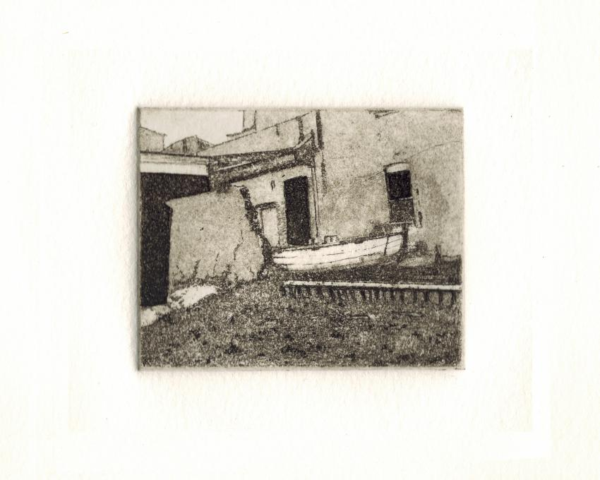 Manzella etching for City Blocks exhibition