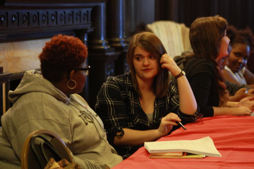 Arcadia students share writing tips and styles with students in Philadelphia's Mighty Writers program.