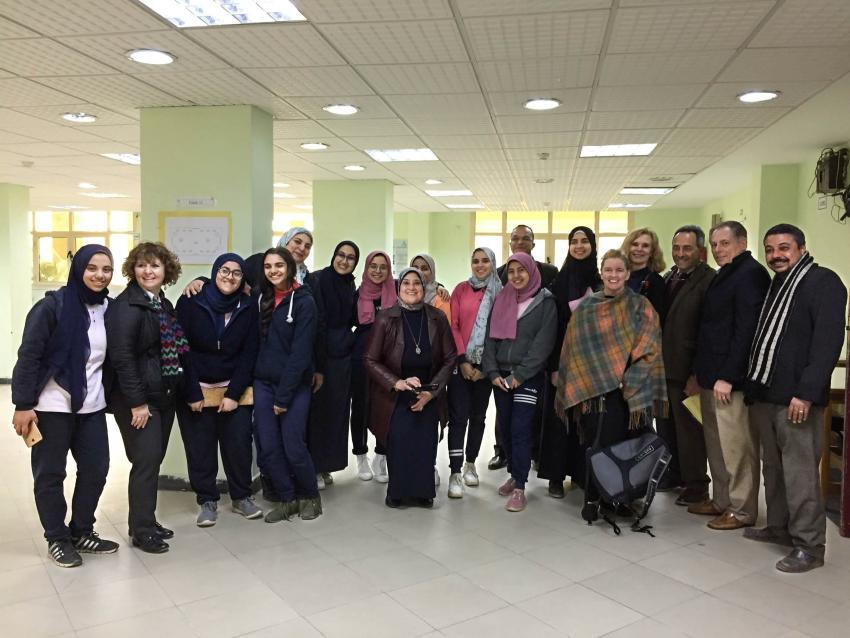 Dr. Kim Dean with Egyptian STEM students and members of the STESSA project.