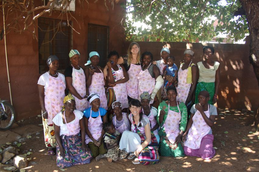 Linda Ruth Paskell (bottom row, center) with widows in Pemba, Mozambique.