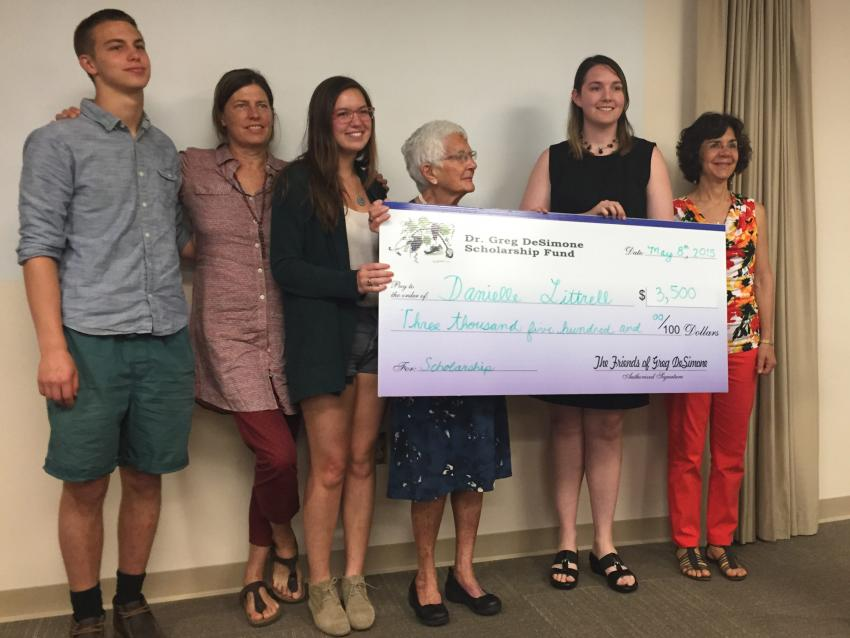 Danielle Littrell, second from right, received a scholarship from Jennersville Regional Hospital.