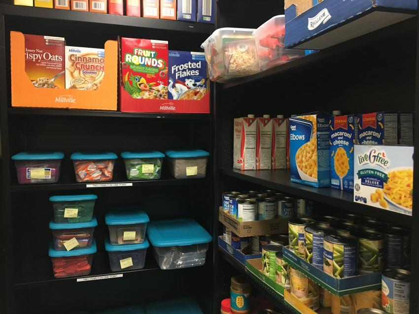 Food pantry items on shelves.