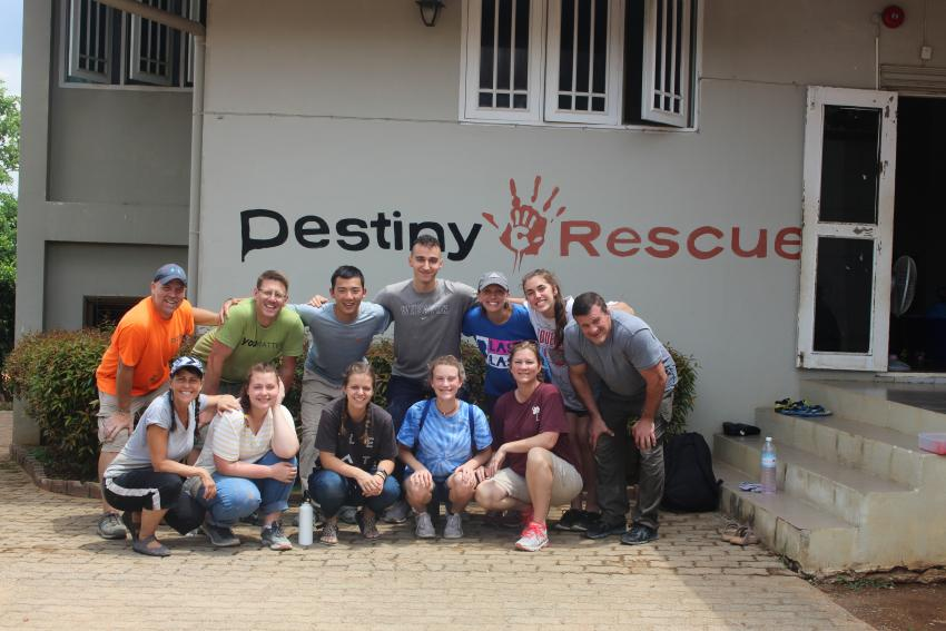 Linda Ruth Paskell with her team at Destiny Rescue in Thailand