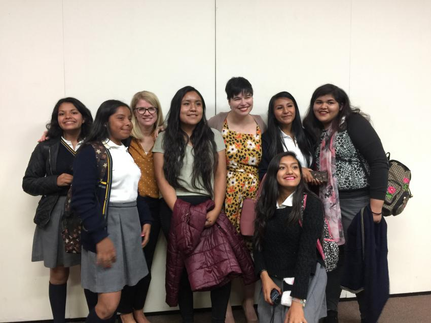 Jill Pederson with a group of Mexican students and another presenter
