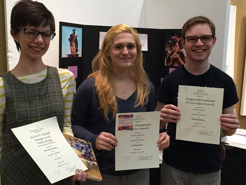 Arianna Kendra '17, Gabriella Santoro '16, and Damien Figueras '16 holding awards for their theater work.