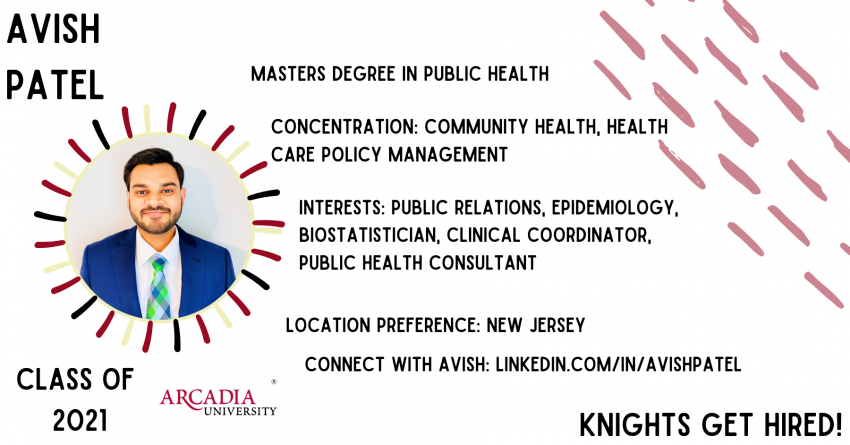Slide for Knights Get Hired showing recent Arcadia University graduate.