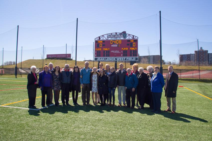 The Lenox West family along with others on the Jean Lenox West Field on April 8.