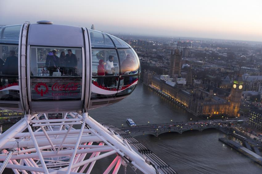 London Eye from above with House of Parliament in background