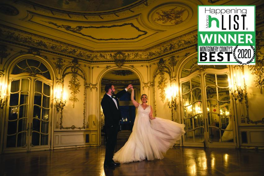 Bride twirled by groom in mirror room with Montco Happenings 2020 logo to right