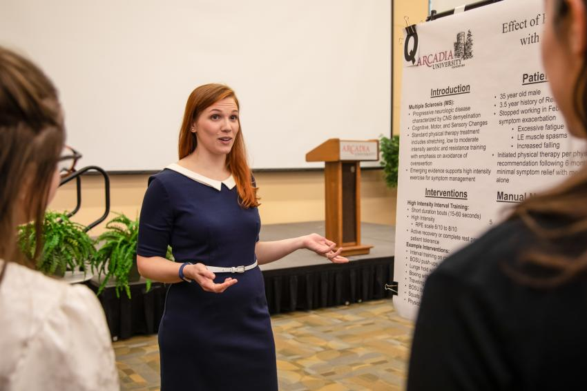 Aase Pedersen presents her research during the PT research day last fall.