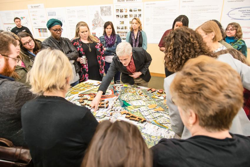 Campus planner shows group of Arcadia community typographical map of changes