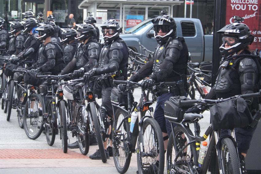 Bike police in Cleveland, OH at the Republican National Convention. Photo credit: Bob Edwards.