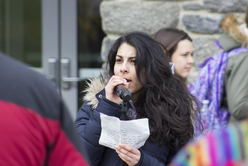Amber Amin '17 speaks during the unity rally on Feb. 3.