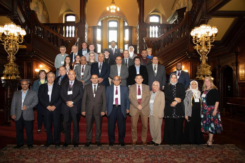 Group shot of the delegates, Arcadia faculty and President Ajay Nair.