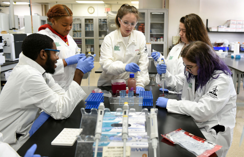 Meaghan Drumm '15 mentors high school students at the Forensic Sciences Mentoring Institute. Photo from The Intelligencer.