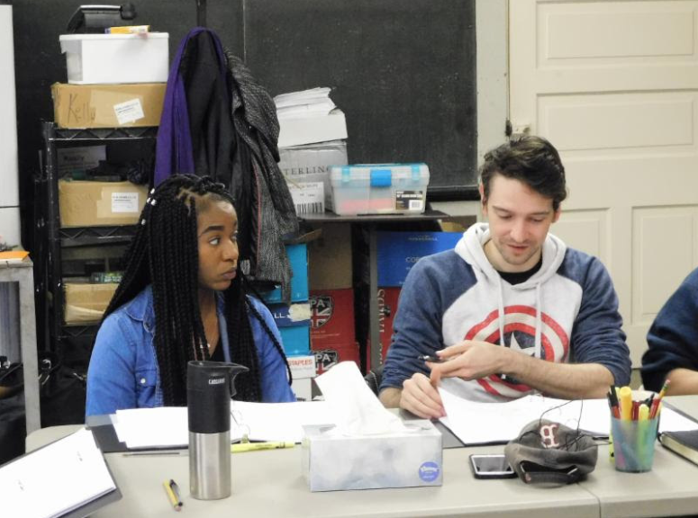"""Kishia Nixon '15 and Trevor William Fayle '13 rehearse for """"Sing the Body Electric."""" Photo provided by Theatre Exile."""