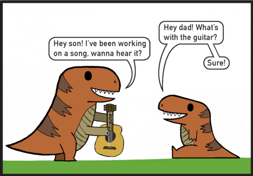 Cartoon by Arcadia University student, featuring two t-rex