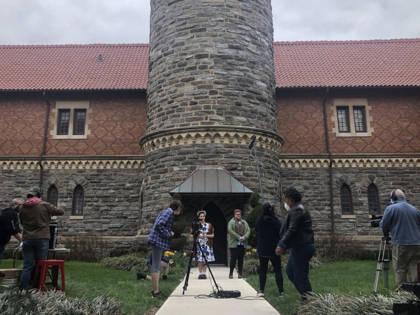 Arcadia University students film All's Well That Ends Well in front of Murphy Hall