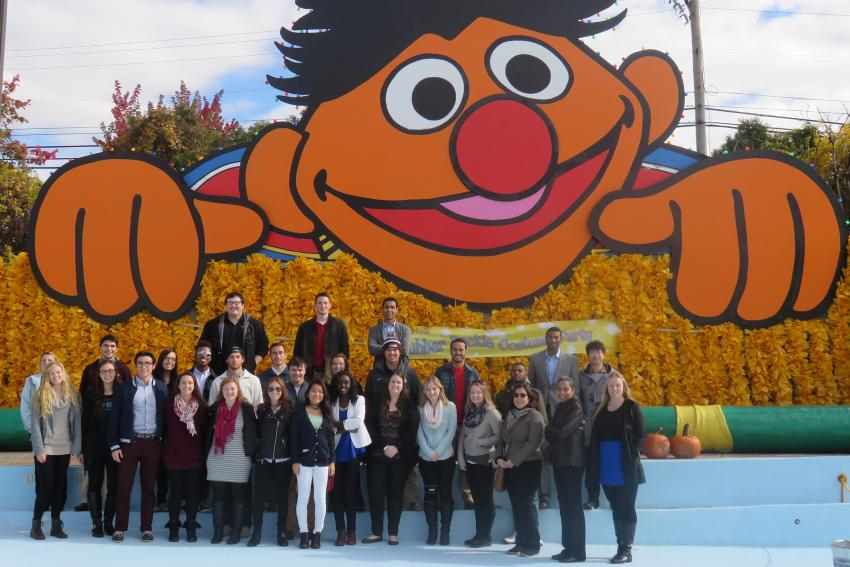 Students in the School of Global Business get a behind-the-scenes tour of Sesame Place. Not pictured: Bert.