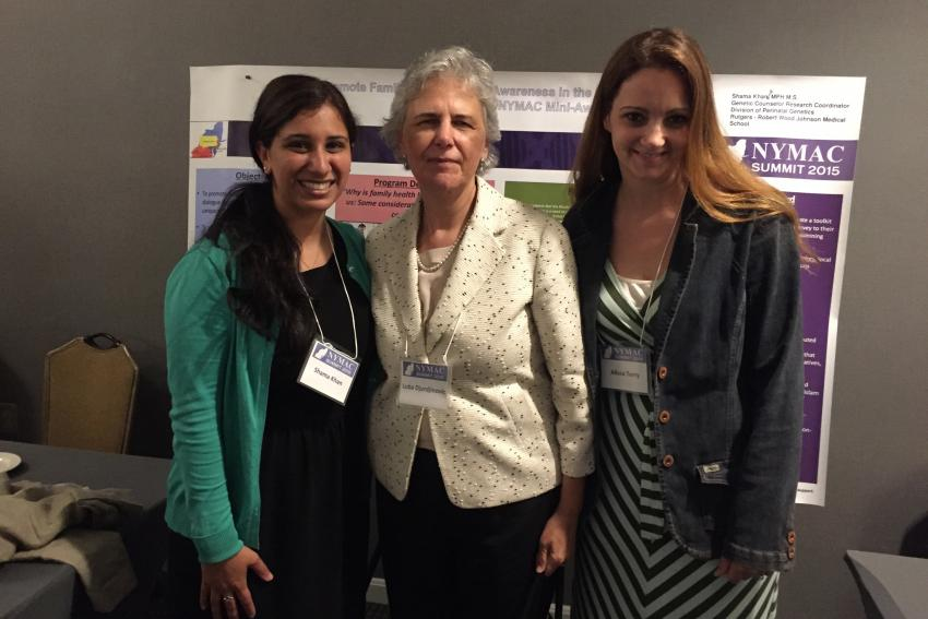 (L to R) Shama Khan '14M with Luba Djurdjinovic and Alissa Terry from the Ferre Institute in Binghamton, N.Y.