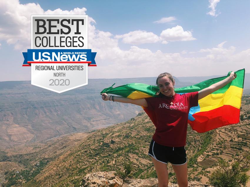 "Student in Ethiopia with the ""Best Colleges"" US News & World Report badge"