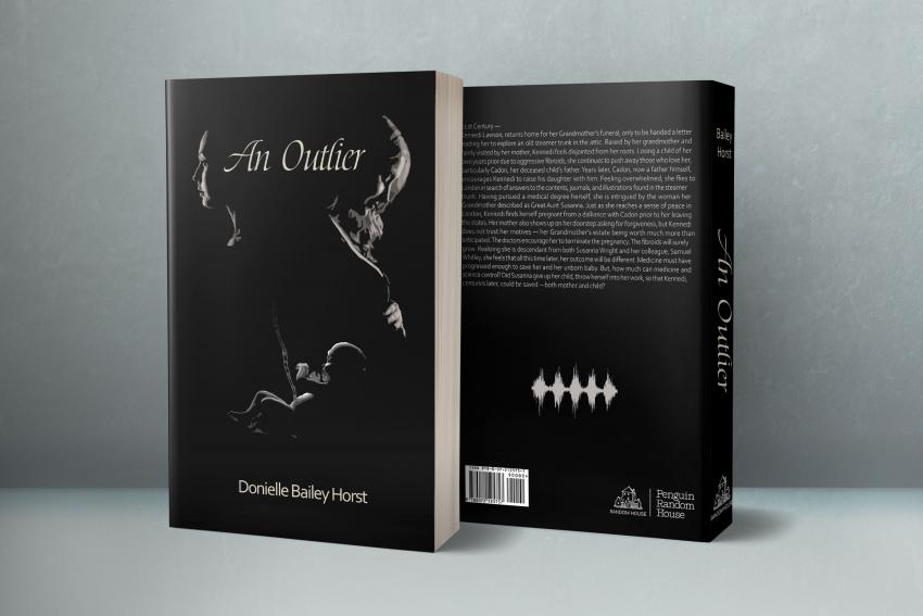 Black and white book cover mock up show shadows of two women with baby in middle