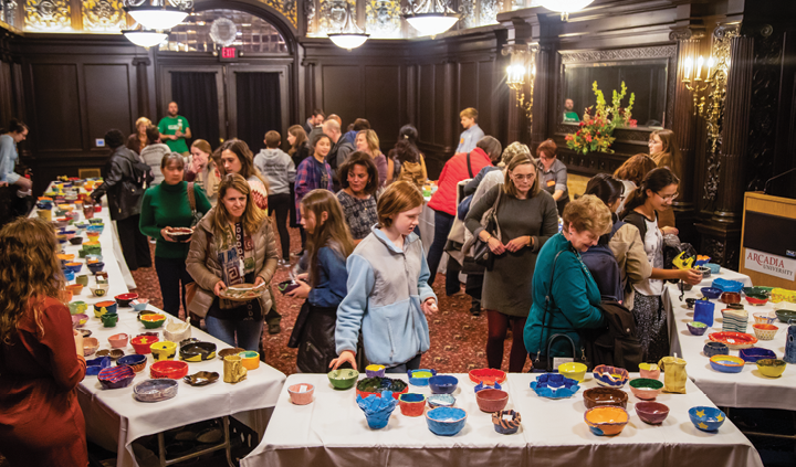 People select their bowls at the event.