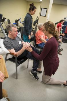 Clients work with students and faculty at Dan Aaron Stay Fit Exercise program
