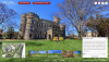 Screenshot of the Campus 360 tour at castle with Knight in front.